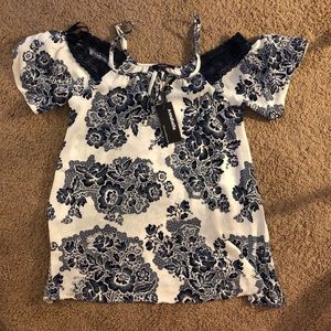 NWT Floral and Lace Off the Shoulder Blouse